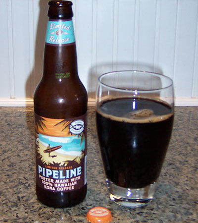 Bottle and fresh glass of Kona Brewing Company Pipeline Porter