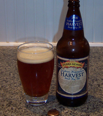 Bottle and fresh glass of Sierra Nevada Brewing 2008 Southern Hemisphere Harvest Ale