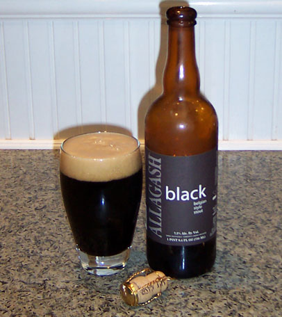 Bottle and fresh glass of Allagash Brewing Black