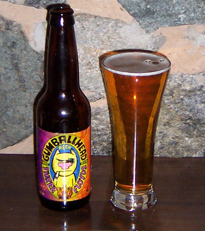 Bottle and fresh glass of Three Floyds GumballHead