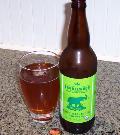 Bottle and fresh glass of Laurelwood Public House & Brewery Organic Green Elephant