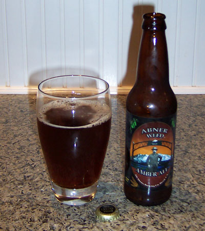 Bottle and fresh glass of Mt. Shasta Brewing Company Abner Amber Ale