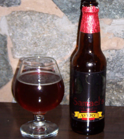 Bottle and fresh glass of Avery Brewing Company 2005 Samaels Oak-Aged Ale