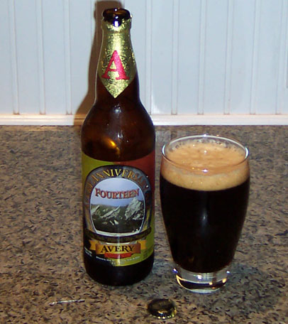 Bottle and fresh glass of Avery Brewing Fourteen