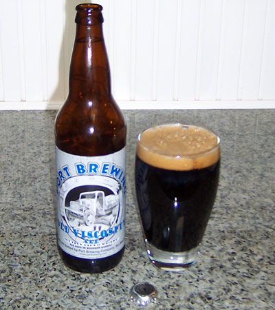 Bottle and fresh glass of Port Brewing Old Viscosity