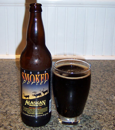 Bottle and fresh glass of Alaskan Brewing Company 2006 Smoke Porter
